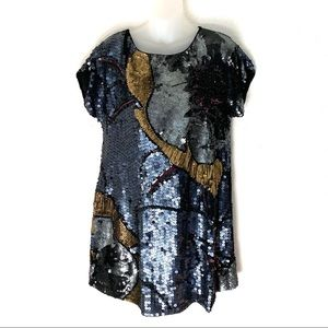 French Connection Sequin Beaded Tunic Dress Sz 10